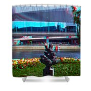 Anaglyph Modern Sculpture Shower Curtain