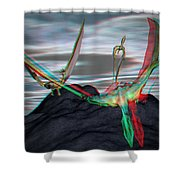 Anaglyph Quetzalcoatlus Shower Curtain