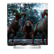 Anaglyph Wild Animals Shower Curtain