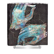 Anahata - Heart 'blue Hand' Chakra Mudra Shower Curtain