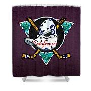 Anaheim Ducks Hockey Team Retro Logo Vintage Recycled California License Plate Art Shower Curtain