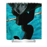 Ancher In Water Santorini Greece Shower Curtain
