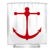 Anchor In Red And White Shower Curtain