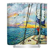 Anchored At Sunset Shower Curtain