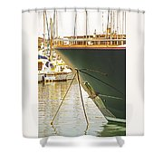 Anchored Yacht In Antibes Harbor Shower Curtain