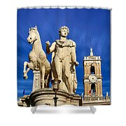Ancient Marble Sculpture Of Castor At The Cordonata Stairs  Shower Curtain
