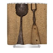 Ancient Spoon And Fork  Shower Curtain