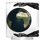 Android Hands Keep Earth Globe Safe On White Background Shower Curtain