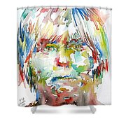 Andy Warhol Watercolor Portrait Shower Curtain