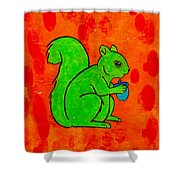 Andy's Squirrel Green Shower Curtain