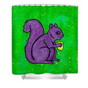 Andy's Squirrel Purple Shower Curtain