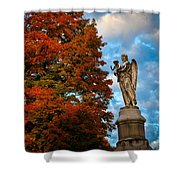 Angel And Boy In Foliage Scenery Shower Curtain