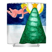 Angel And Christmas Tree Shower Curtain