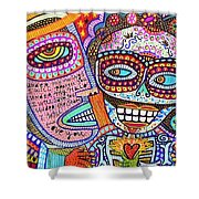 Angel And Frida Sugar Skull Lovers' Shower Curtain