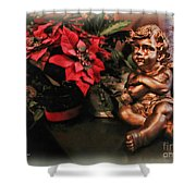 Angel And Poinsettia Shower Curtain