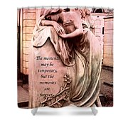 Angel Art - Memorial Angel Weeping Sorrow At Grave With Inspirational Message - Memories Are Forever Shower Curtain