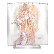 Angel Christmas Card Shower Curtain