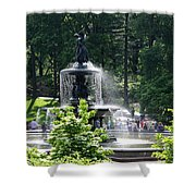 Angel Fountain Nyc Shower Curtain