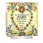 Angel Fraktur Painting Shower Curtain