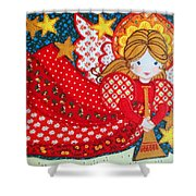 Angel In Red Shower Curtain