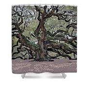 Angel Oak Digital Art Shower Curtain