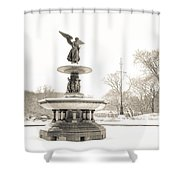 Angel Of The Waters - Central Park - Winter Shower Curtain