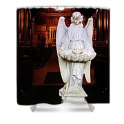 Angel Statue Offers Holy Water Shower Curtain