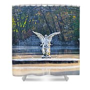Angel On A Misty Lake  Shower Curtain