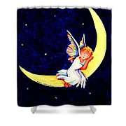 Angel On The Moon Shower Curtain