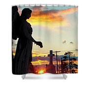 Angel Silhouette In Burst Of Colors Shower Curtain