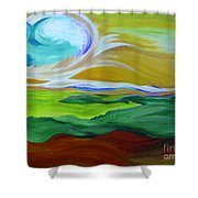 Angel Sky Green By Jrr Shower Curtain