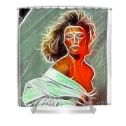 Angela Leather Red Fractal Shower Curtain
