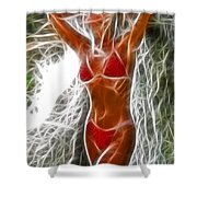 Angela Red Bikini Fractal Shower Curtain