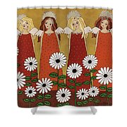 Angels And Dasies Shower Curtain