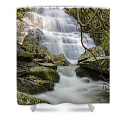 Angels At Benton Waterfall Shower Curtain by Debra and Dave Vanderlaan