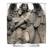 Angels Embracing - Angels Dreamy Romantic Angel Art - Guardian Angel Art  Shower Curtain
