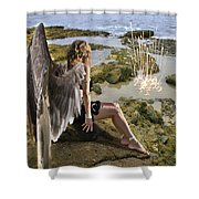 Angels- His Spirit Will Comfort You Shower Curtain