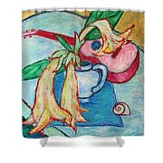 Angel's Trumpet Flowers And A Ukulele Shower Curtain