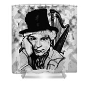 Angelsoncloudsplayingharpo Shower Curtain