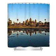 Angkor Wat At Sunset - Cambodia Shower Curtain