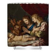 Angles Adoring The Sleeping Christ Shower Curtain
