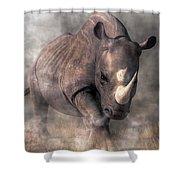 Angry Rhino Shower Curtain