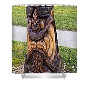 Angry Tiki From A Palm Tree Stump Shower Curtain