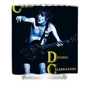 Angus Creates Decibel Celebrations In Blue Shower Curtain