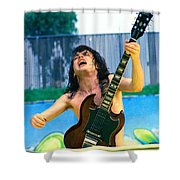 Angus Young Of A C D C At Day On The Green Monsters Of Rock  7-21-79  Shower Curtain