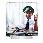 Anheuser Busch Budweiser Clydesdale Drivers And Mascot Usa Rodeo Shower Curtain