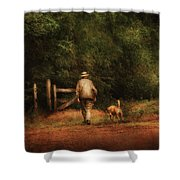 Animal - Dog - A Man And His Best Friend Shower Curtain