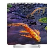 Animal - Fish - There's Something About Koi  Shower Curtain by Mike Savad