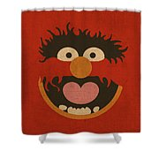 Animal Muppet Vintage Minimalistic Illustration On Worn Distressed Canvas Series No 008 Shower Curtain