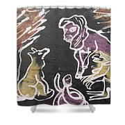 Animals Hold Their Monthly Meeting In The Bush. Shower Curtain
